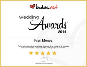 Fran Menez Bodas.net Wedding Awards 2014. Una de las empresas mejor valoradas de bodas.net. Uno de los fotógrafo de bodas más recomendados.